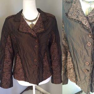Leather & Silk Edgy Jacket Brown Steampunk Sz M